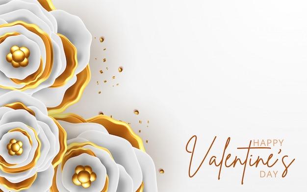 Carte de voeux saint valentin avec fond de fleurs