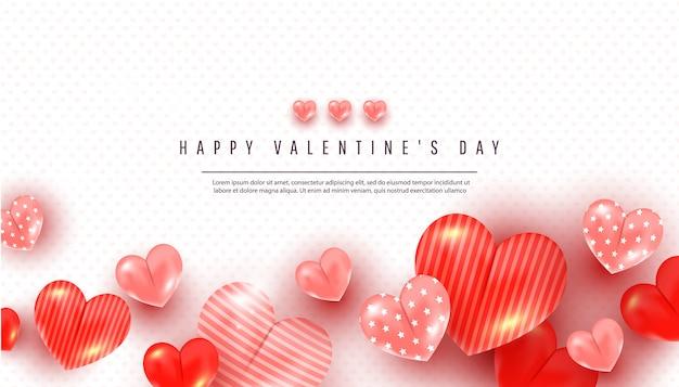 Carte de voeux saint valentin avec des formes de coeur d'amour 3d de différentes tailles et texte sur blanc