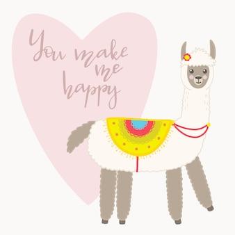 Carte de voeux saint valentin. lama mignon avec des éléments dessinés à la main. tu me rends heureux.