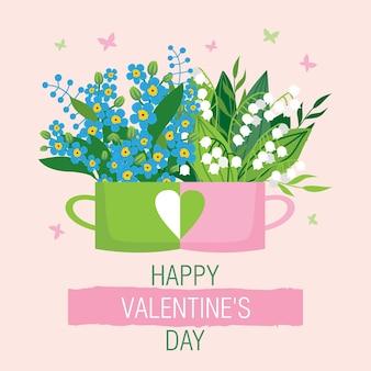 Carte de voeux de la saint-valentin avec quelques tasses aimantes avec des fleurs.