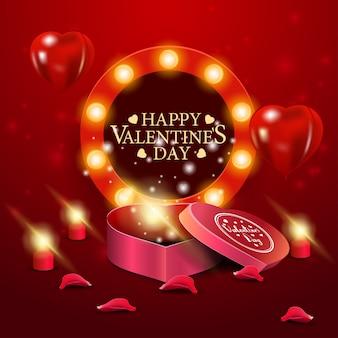 Carte de voeux saint valentin rouge avec une boîte de chocolats