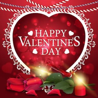 Carte de voeux saint valentin rouge avec cadeau et fleurs