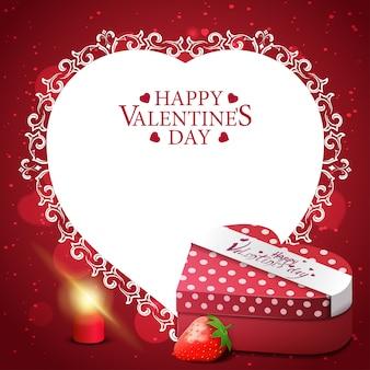 Carte de voeux saint valentin rouge avec cadeau et fraise