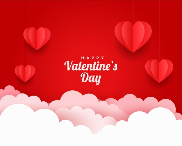 Carte de voeux saint valentin en style papier découpé