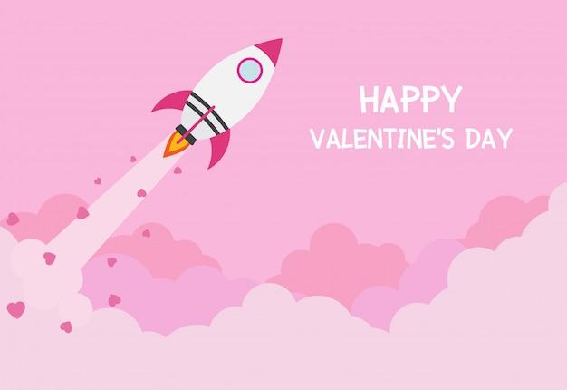 Carte de voeux saint valentin avec vaisseau spatial