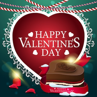 Carte de voeux saint valentin verte avec des bonbons au chocolat