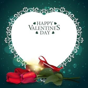 Carte de voeux saint valentin verte avec cadeau et fleurs