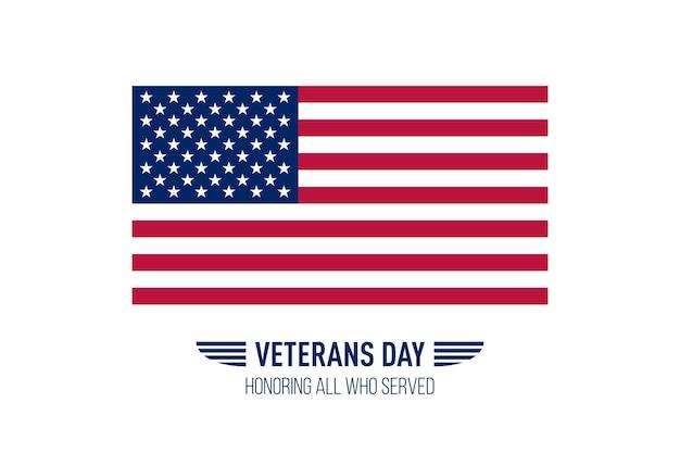 Carte de voeux simple pour la journée des anciens combattants avec le drapeau des états-unis. illustration vectorielle