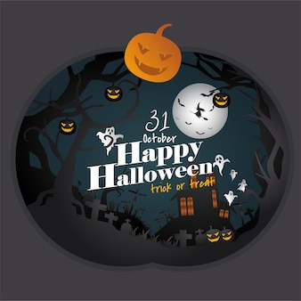 Carte de voeux de style papier halloween heureux