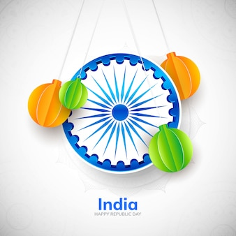 Carte de voeux suspendue minimaliste drapeau indien ashoka chakra