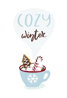 Carte de voeux avec une tasse de chocolat chaud