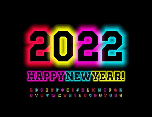 Carte de voeux tendance vecteur happy new year 2022 police électrique lumineuse alphabet coloré illuminé