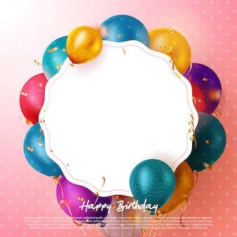 Carte de voeux de texte joyeux anniversaire avec des ballons colorés et des confettis et un espace pour le texte pour la fête d'anniversaire. .