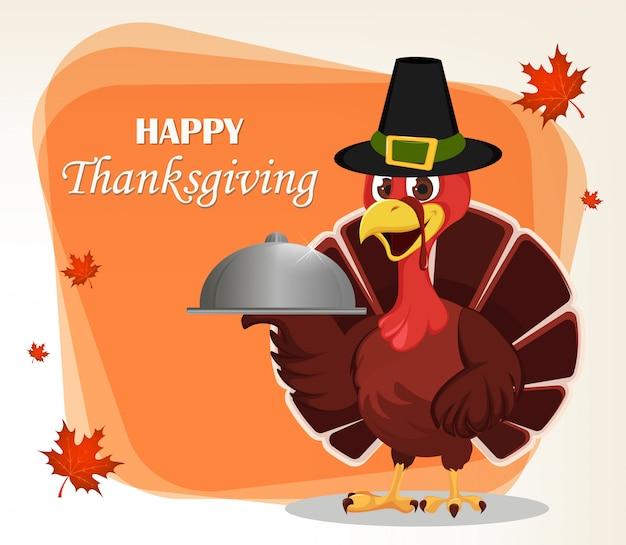 Carte de voeux de thanksgiving avec un oiseau de dinde