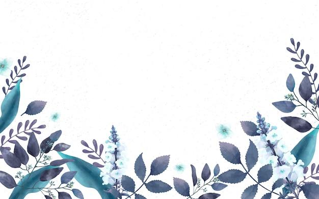 Carte de voeux sur le thème bleu avec feuilles miniatures