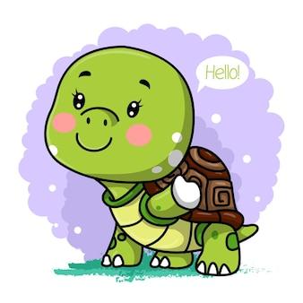 Carte de voeux tortue de dessin animé mignon