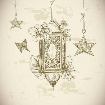 Carte de voeux traditionnelle avec lanterne arabe et fleurs,