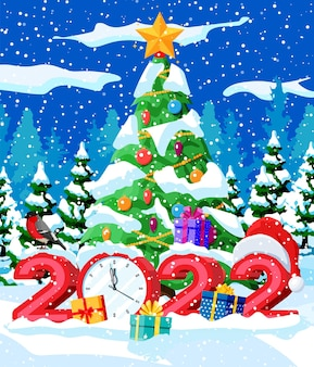 Carte de voeux de vacances joyeux noël et nouvel an