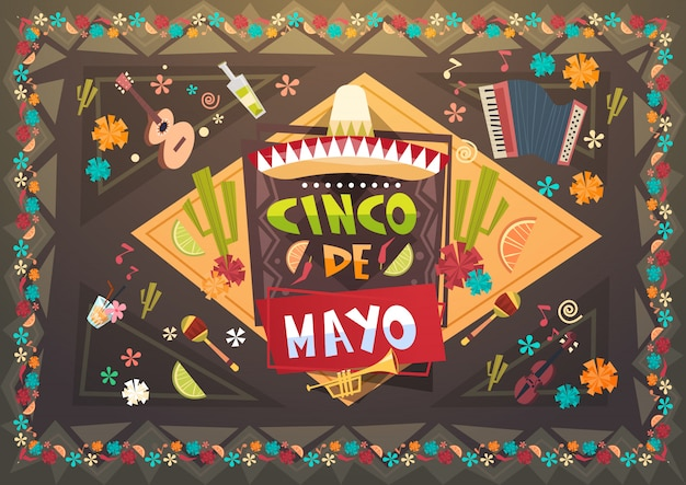 Carte de voeux de vacances mexicaines de festival de festival de cinco de mayo