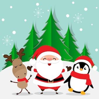 Carte de voeux de vacances noël avec bande dessinée de père noël, rennes et pingouin. illustration vectorielle