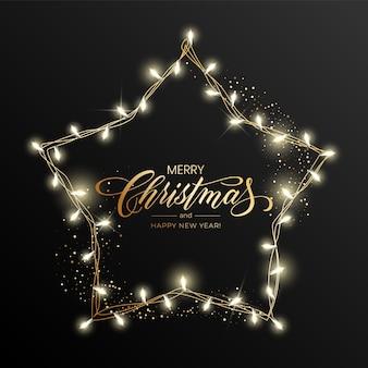 Carte de vœux de vacances pour joyeux noël avec une guirlande lumineuse et l'inscription joyeux noël et bonne année.
