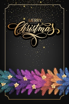 Carte de vœux de vacances pour joyeux noël avec une guirlande réaliste de branches de pin, décorée de lumières de noël, d'étoiles dorées, de flocons de neige
