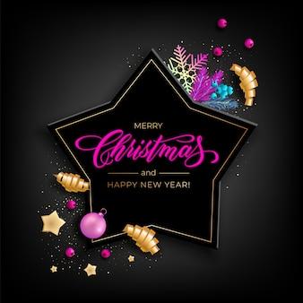 Carte de voeux de vacances pour joyeux noël avec des objets colorés réalistes, décoré avec des boules de noël, étoiles dorées, flocons de neige, rubans de fête curling