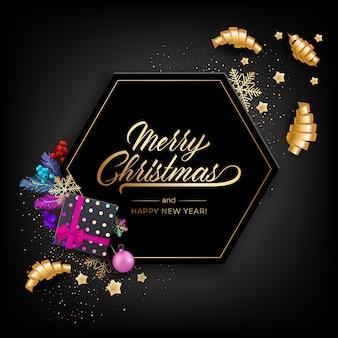 Carte de voeux de vacances pour joyeux noël avec des objets colorés réalistes, décorés avec des boules de noël, des étoiles dorées, des flocons de neige, des rubans de fête au curling et une boîte-cadeau