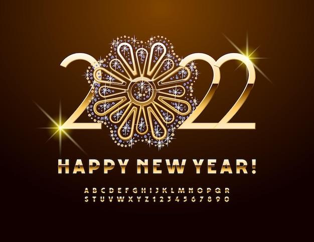 Carte de voeux de vecteur happy new year 2022 avec des bijoux brillants décoratifs ensemble de l'alphabet fleur d'or