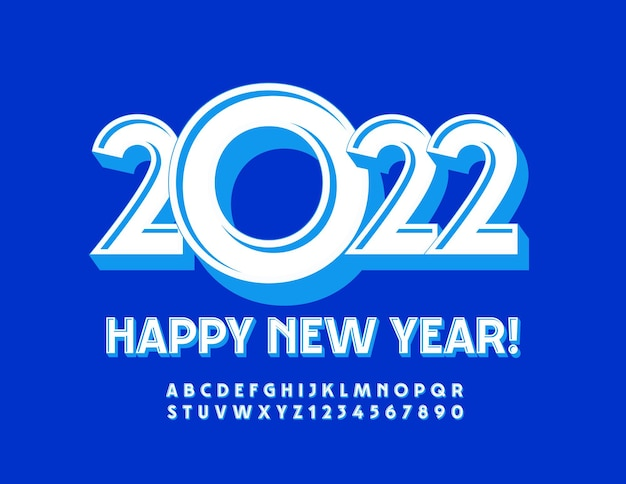Carte de voeux de vecteur happy new year 2022 ensemble de lettres et de chiffres de l'alphabet de style moderne