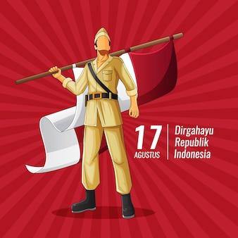 Carte de voeux de vecteur d'indépendance indonésienne avec le héros tenant le drapeau indonésien