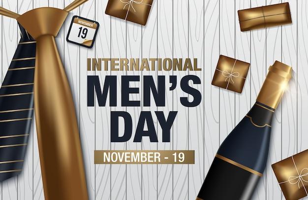 Carte de voeux de vecteur journée internationale des hommes