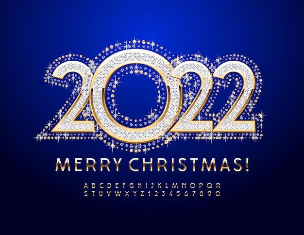 Carte de voeux de vecteur joyeux noël 2022 élégante police d'or jeu de lettres et de chiffres de l'alphabet chic