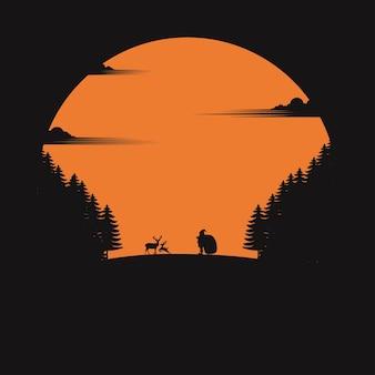 Carte de voeux de vecteur de noël. père noël avec des rennes.