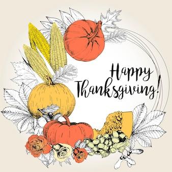Carte de voeux de vecteur pour thanksgiving. dessiné à la main.