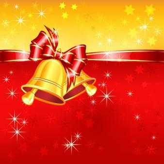 Carte de voeux de vecteur rouge et or avec des cloches de noël, un arc et des flocons de neige