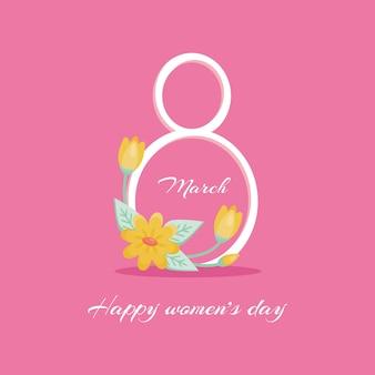 Carte de voeux vector international womens day 8 mars signe avec le décor de plantes printanières