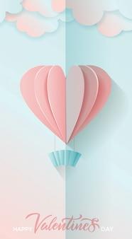 Carte de voeux verticale pour la saint valentin avec lettrage et papier volant couper les coeurs