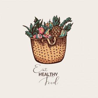 Carte de voeux vintage écologique, illustration d'aliments sains, panier en osier