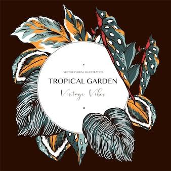 Carte de voeux vintage de feuilles tropicales. collection exotique de plantes d'intérieur naturelles