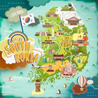 Carte de voyage abondante en corée du sud au design plat
