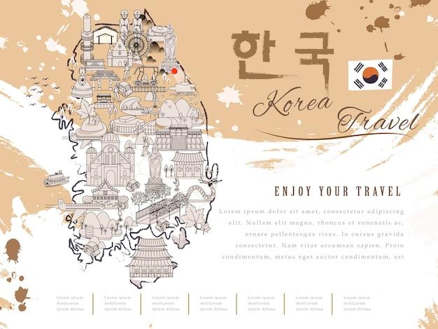 Carte de voyage attrayante de la corée du sud - corée en mots coréens en haut à droite