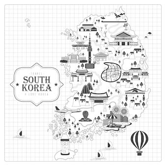 Carte de voyage attrayante de la corée du sud sur papier à lettres en monochrome