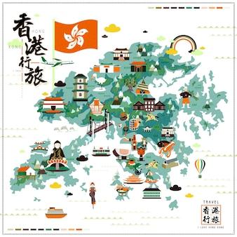 Carte de voyage attrayante de hong kong avec des icônes d'attractions au design plat