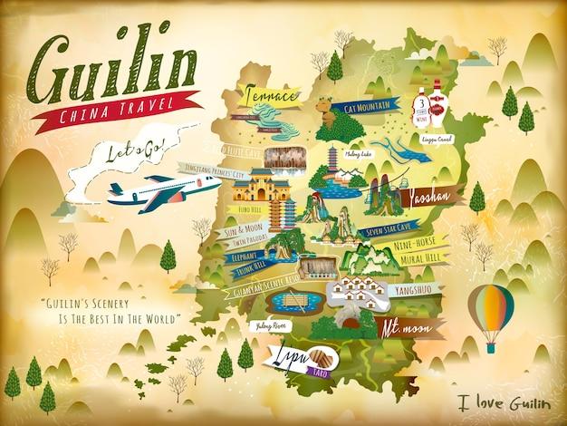 Carte de voyage de la chine guilin avec des attractions et des spécialités célèbres