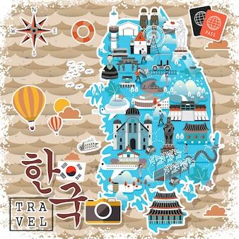 Carte de voyage colorée en corée du sud - corée en mots coréens en bas à gauche