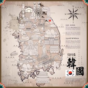 Carte de voyage de la corée du sud avec des attractions - en bas à droite est la corée dans le mot chinois