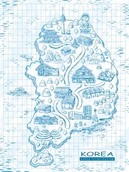 Carte de voyage de corée du sud dessinée à la main dans un style de ligne exquis