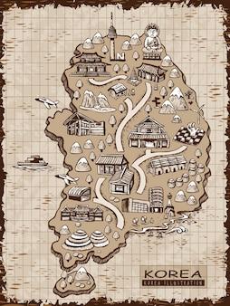 Carte de voyage de corée du sud dessinée à la main rétro dans un style de ligne exquis