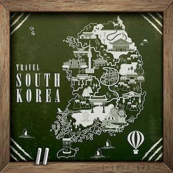 Carte de voyage créative de la corée du sud dessinée sur le tableau